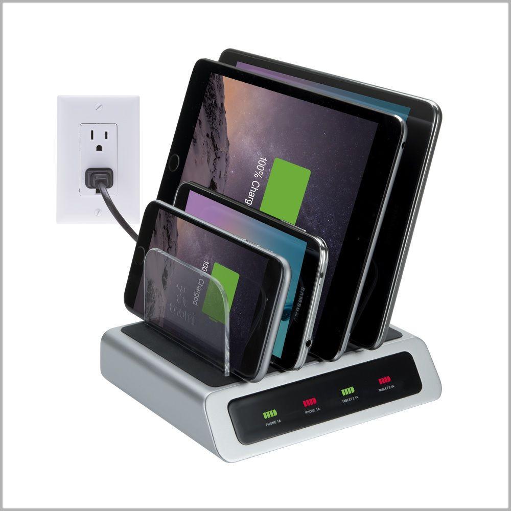 Vision Elite 4-Port USB Visual Charge Charging Station, Silver/Black