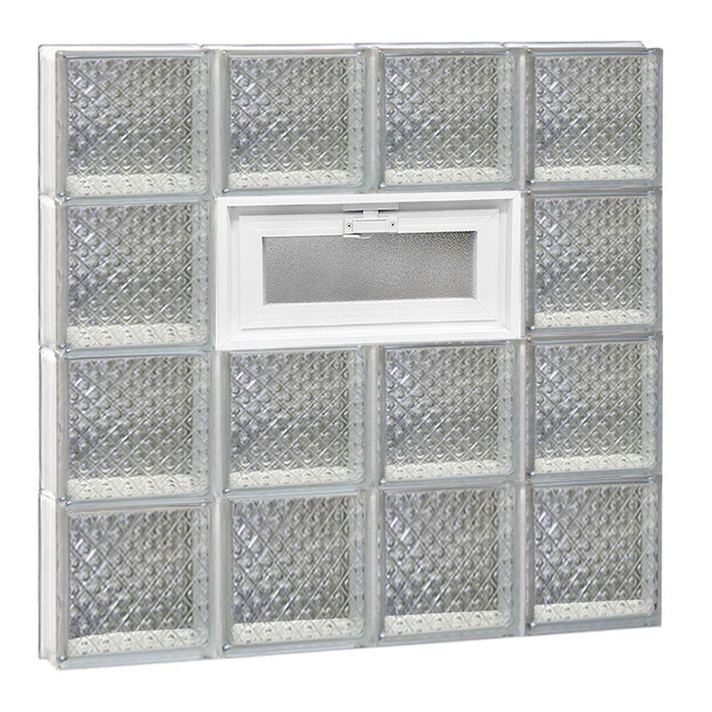 Clearly Secure 31 in. x 31 in. x 3.125 in. Frameless Diamond Pattern Vented Glass Block Window