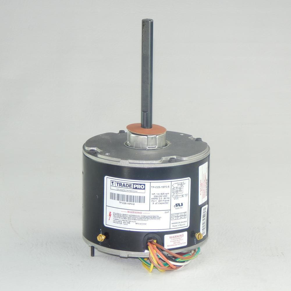 Replacement Condenser Fan Motor 1/3 HP Single Speed 825 RPM 230-Volt