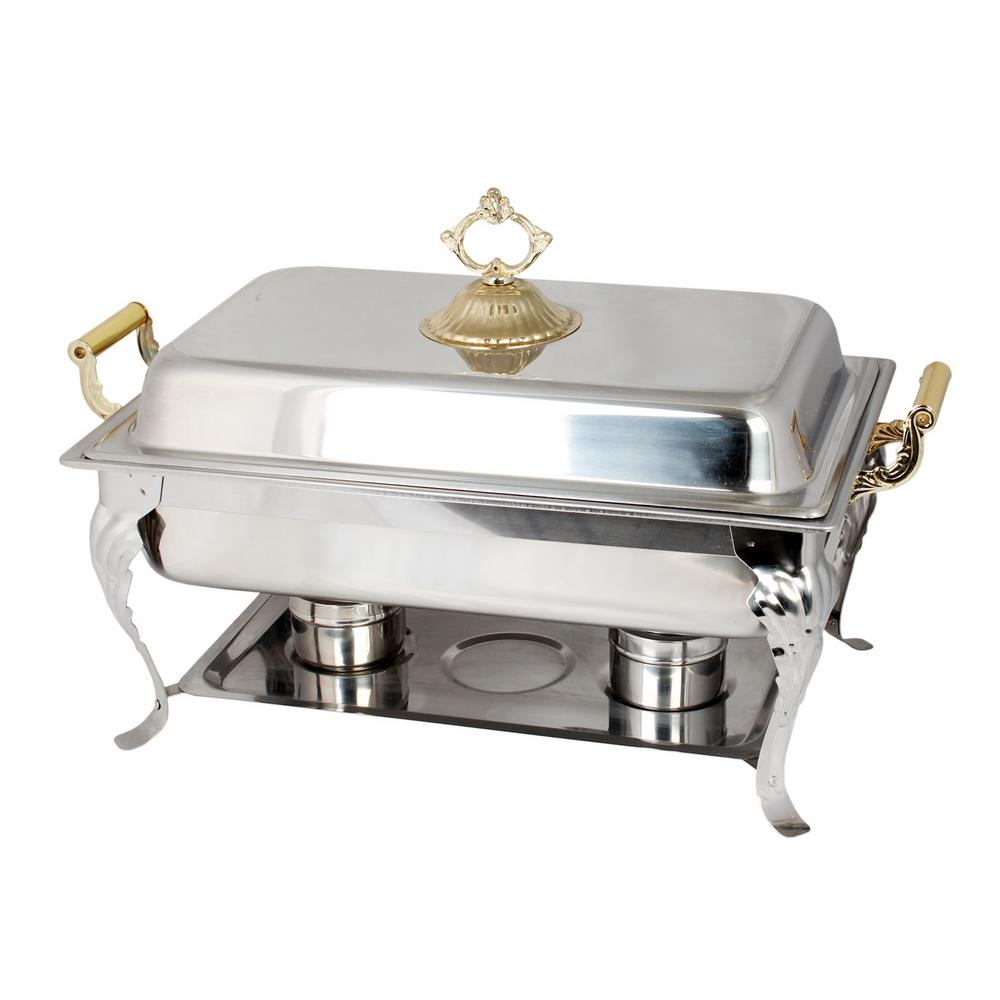 Restaurant Essentials 8 Qt. Full Size Brass Handle Set The 8 Qt Full Size Brass Handle-Set is the perfect chafer to help keep food warm for any event or gatherings. They are much more attractive and easy to use than the average steam table set-up. The chafer is built out of stainless steel for dependable durability for any event. The sleek modern design will help bring elegance to any event. It is easy to maintain and clean.