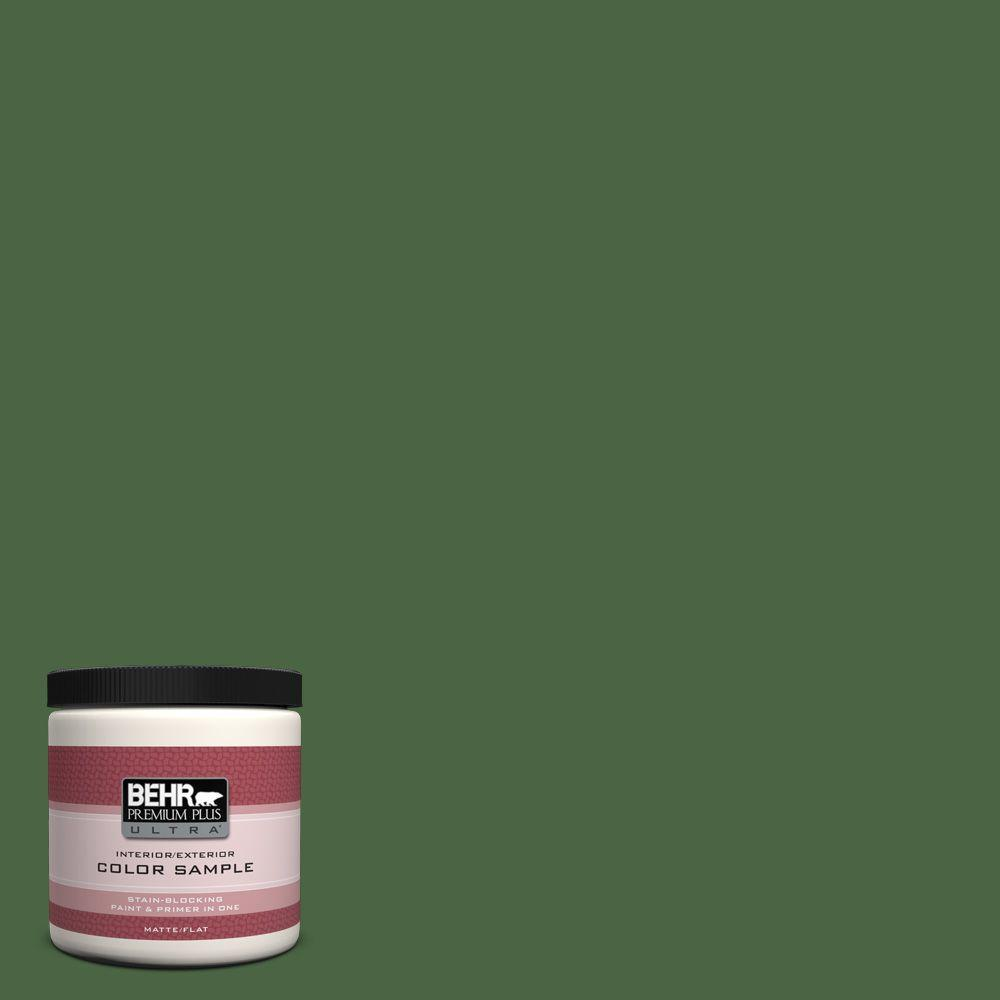 BEHR Premium Plus Ultra 8 oz. #S400-7 Deep Viridian Matte Interior/Exterior Paint and Primer in One Sample