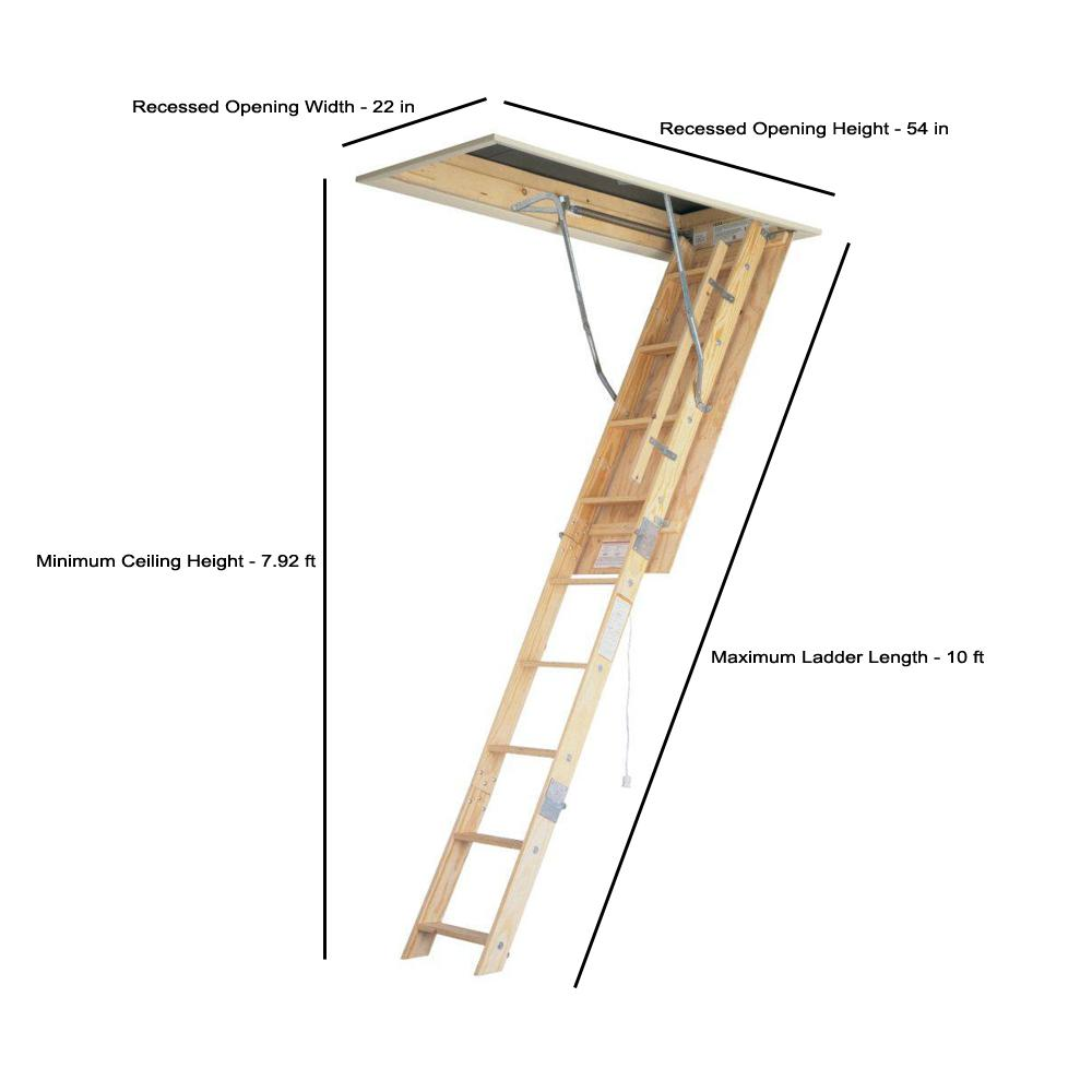 Werner 8 Ft 10 Ft 22 5 In X 54 In Universal Fit Wood Attic Ladder With 250 Lb Maximum Load Capacity Wu2210 The Home Depot
