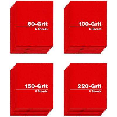 4.5 in. x 5.5 in. - Assortment (60, 100, 150, and 220 Grit) (24-Pack)