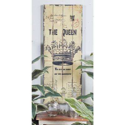 "36 in. x 14 in. ""Vintage King and Queen Crown and Postcard Graphics"" Framed Wooden Wall Art (Set of 2)"