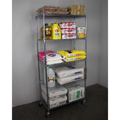 72 in. H x 36 in. W x 18 in. D NSF 5-Tier Wire Chrome Shelving Rack with Wheels