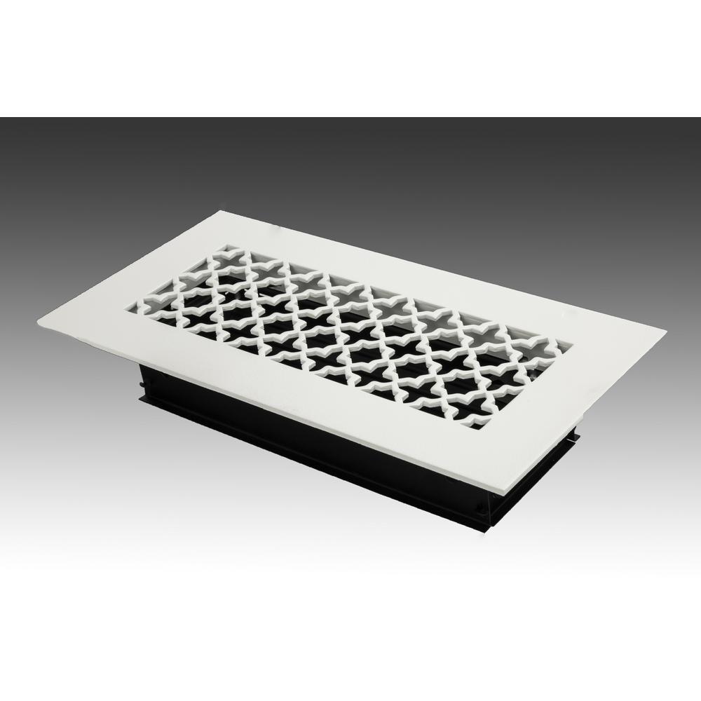 10 in. x 4 in. White Poweder Coat Steel Floor Vent with Opposed Blade Damper