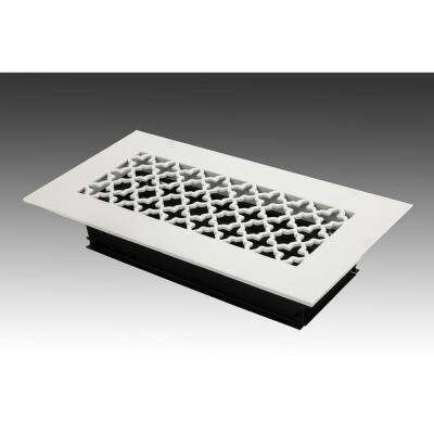 12 in. x 4 in. White Poweder Coat Steel Floor Vent with Opposed Blade Damper