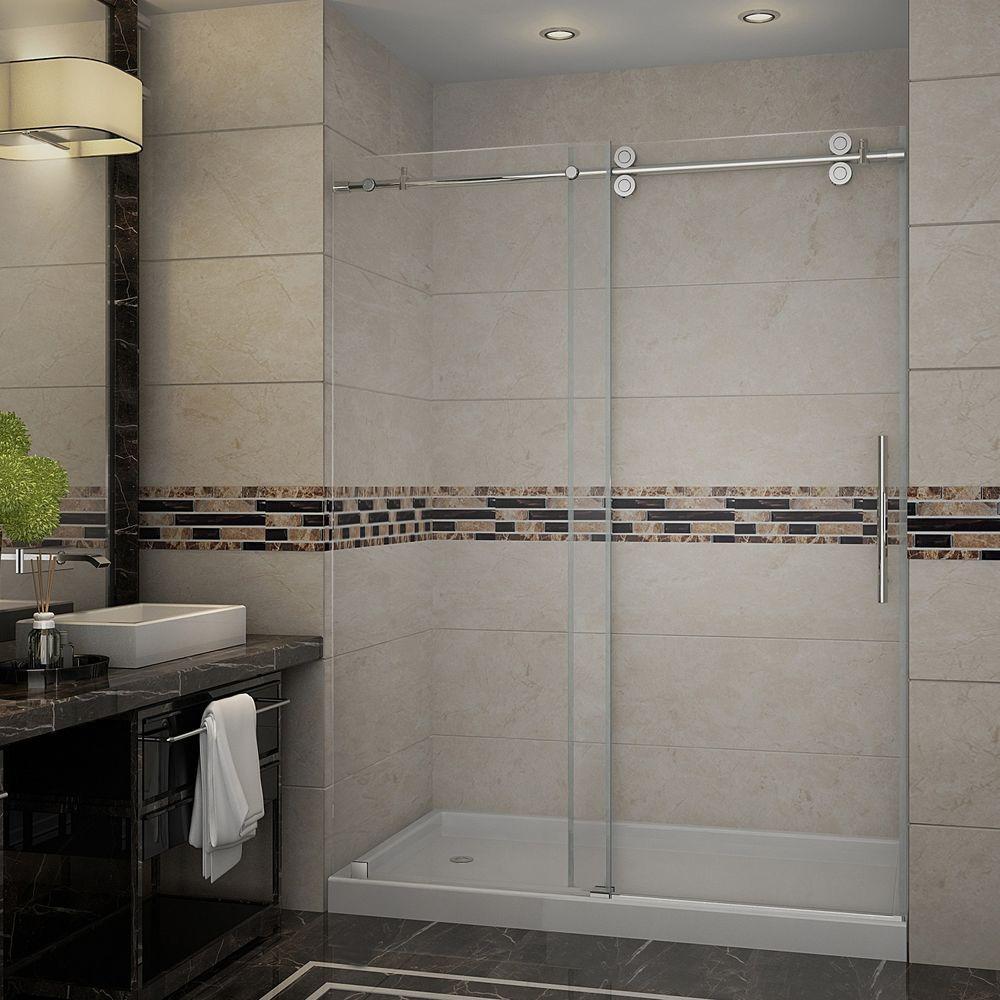 Langham 60 in. x 77-1/2 in. Completely Frameless Sliding Shower Door in Stainless Steel with Left Base