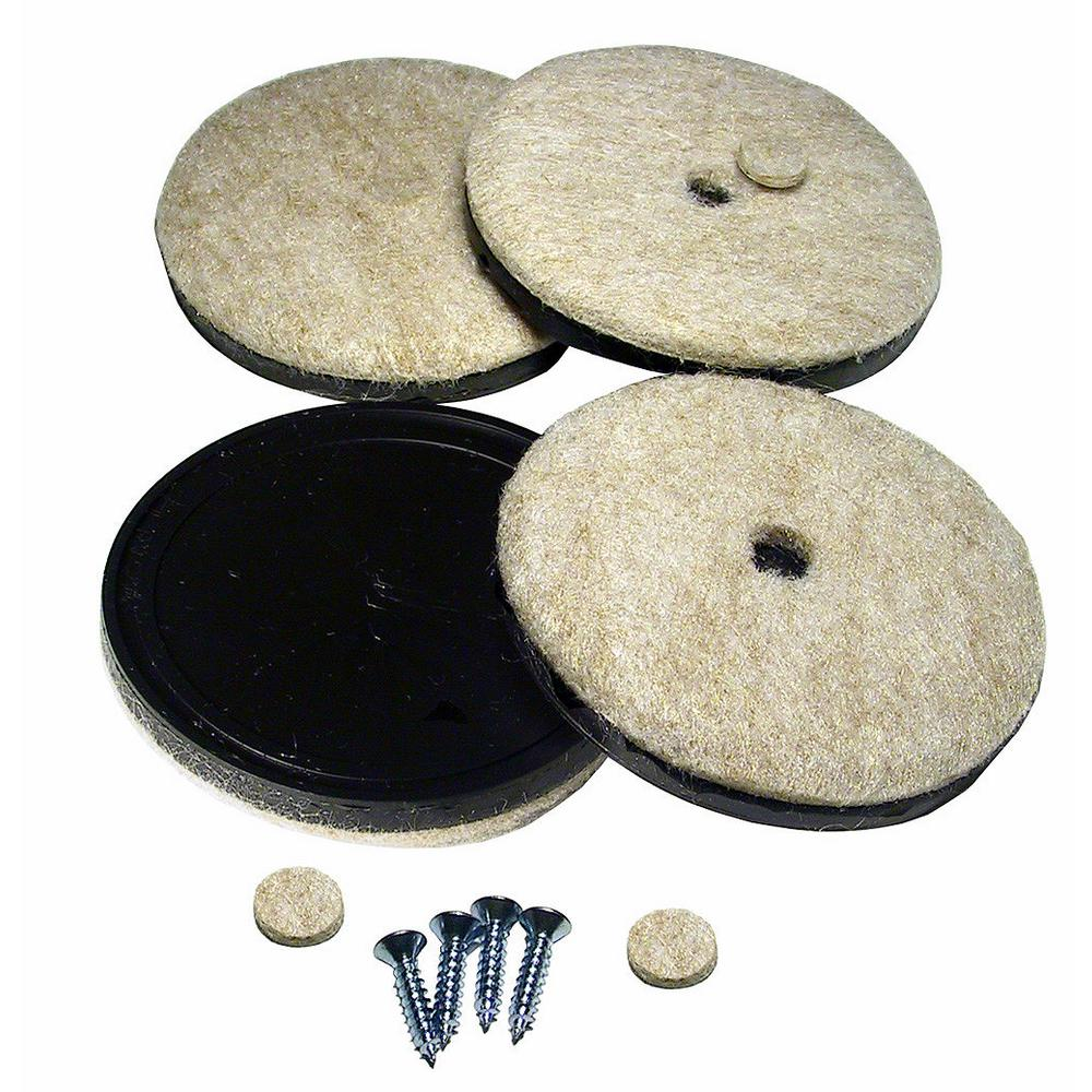 Richelieu hardware 2 3 4 in screw on felt pads 4 pack 23095 the home depot - Screw in felt pads ...