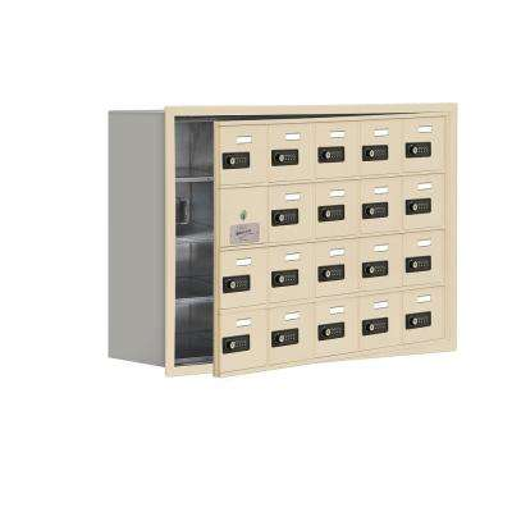 19100 Series 35.75 in. W x 24.25 in. H x 8.75 in. D 19 Doors Cell Phone Locker Recess Mount Resettable Lock in Sandstone