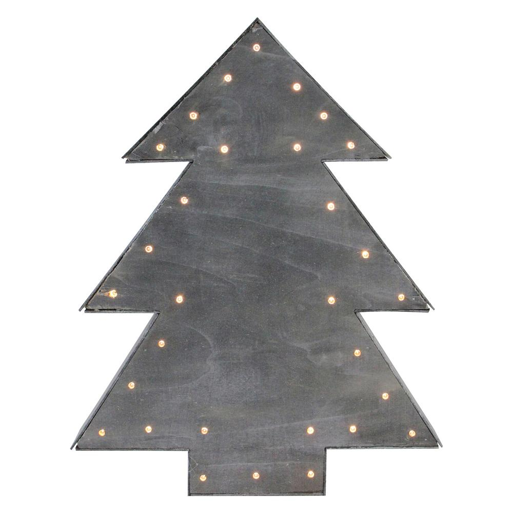 small lighted grey tree christmas table top decoration