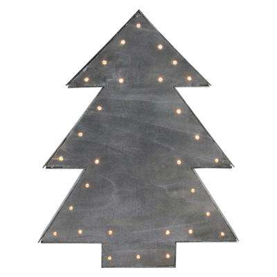 17 in. Small Lighted Grey Tree Christmas Table Top Decoration