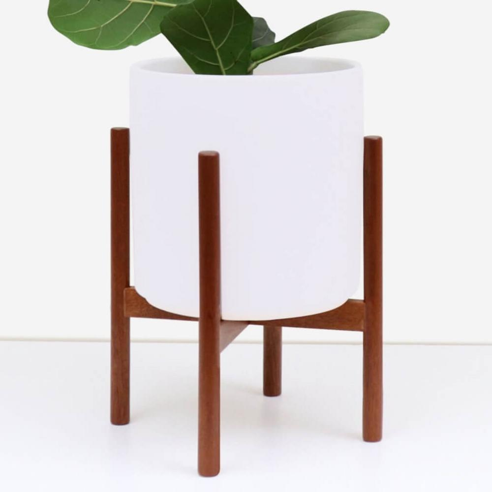 Peach & Pebble 9 in. White Ceramic Planter with Wood Plant Stand (11 in. or 9 in.)