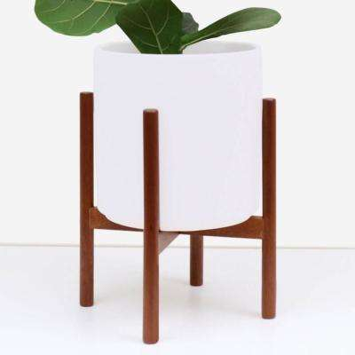 9 in. White Ceramic Planter with Wood Plant Stand (11 in. or 9 in.)