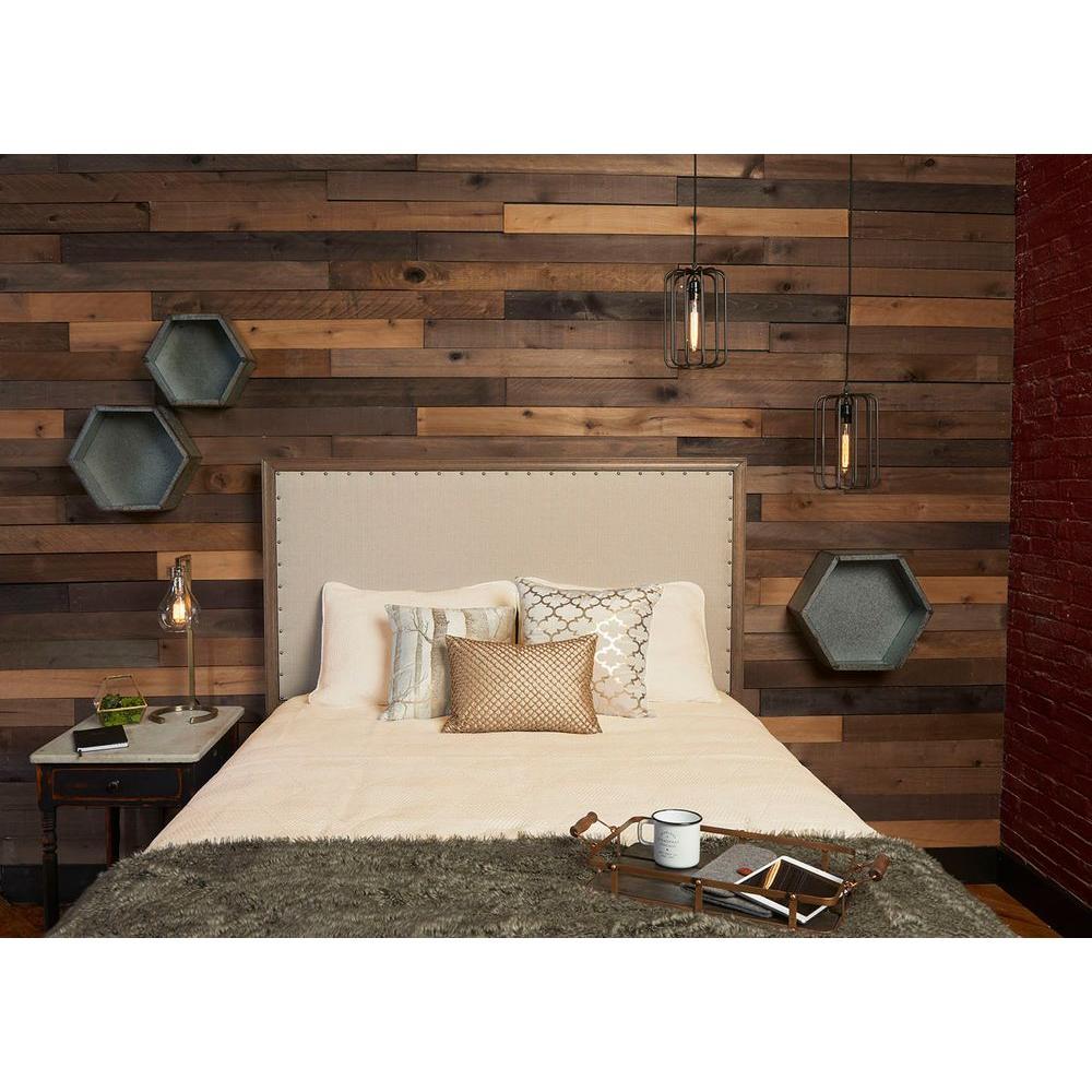 Reclaimed barn wood style weathered hardwood rustic boards