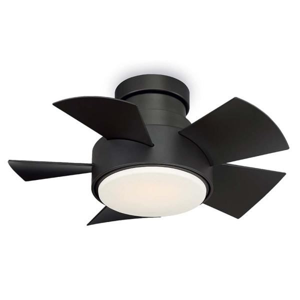 Vox 26 in. LED Indoor/Outdoor Bronze 5-Blade Smart Flush Mount Ceiling Fan with 3000K Light Kit and Wall Control