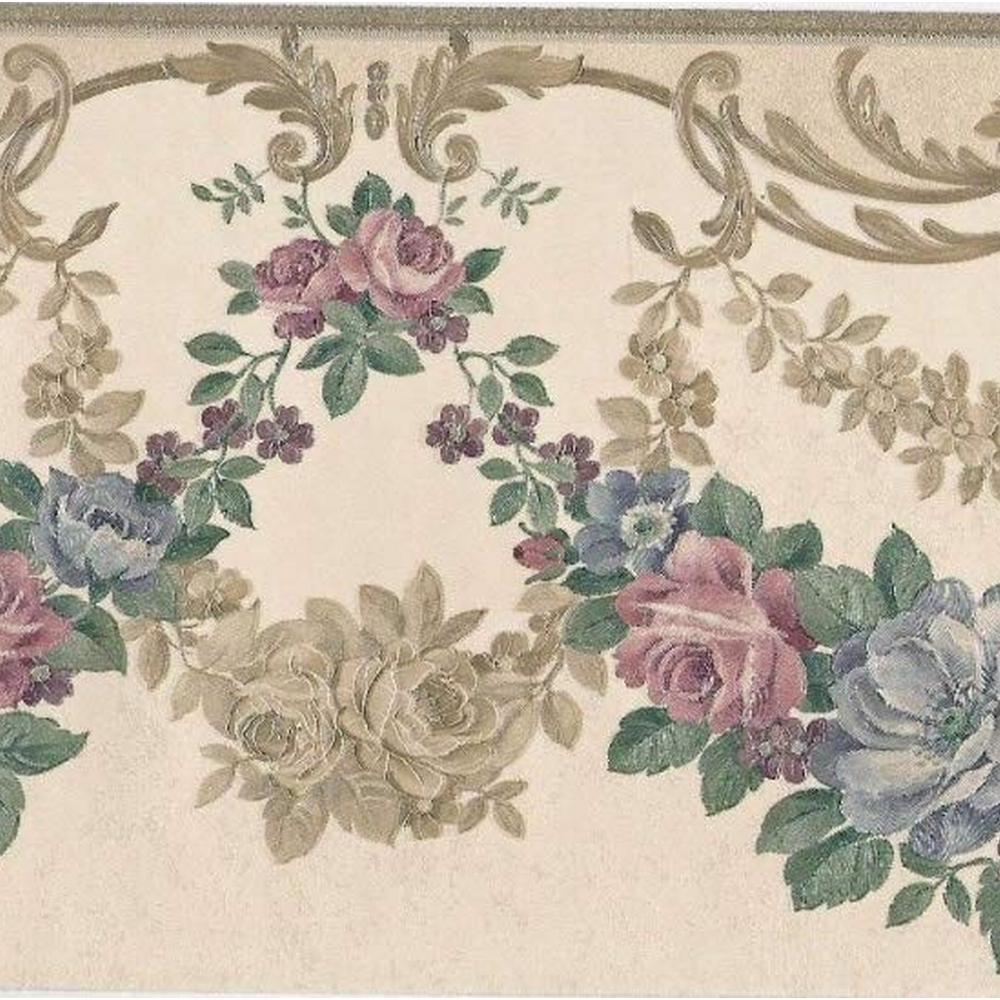 Falkirk Brin Green, Pink, Gold, Blue Roses Garlands, Crown Molding Victorian Prepasted Wallpaper Border