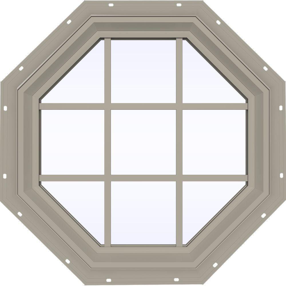 35.5 in. x 35.5 in. V-2500 Series Fixed Octagon Vinyl Window
