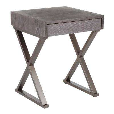 Industrial Luster End Table in Antique Metal and Dark Grey Wood