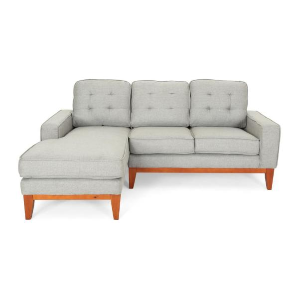 Noble House Welles Mid-Century Modern Tufted Gray Fabric Sectional ...