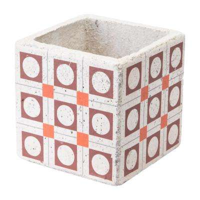 Cement Squares 4.9 in. W x 4.9 in. H Red and Orange Ceramic Planter