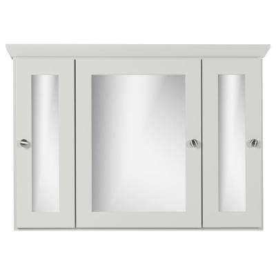 36 in. W x 27 in. H x 6.5 in. D Tri-View Surface-Mount Medicine Cabinet Square/Mirror in Dewy Morning