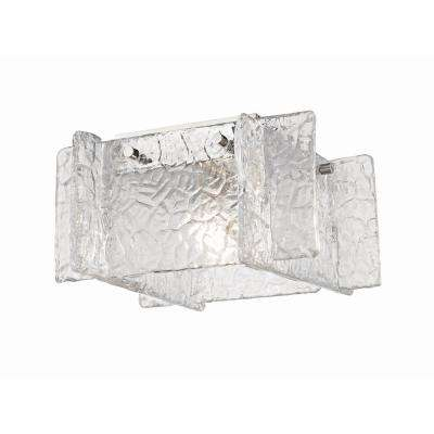 Erika 1-Light Polished Nickel Flushmount with Clear Textured Glass Shade
