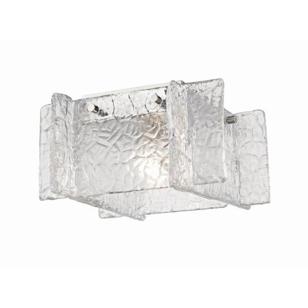 Erika 1-Light Polished Nickel Flush Mount with Clear Textured Glass Shade