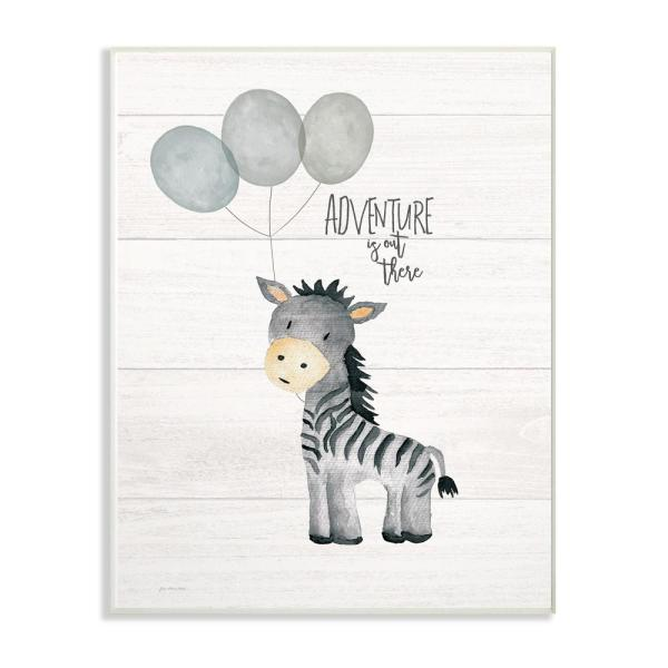 10 in. x 15 in. ''Adventure Is Out There Zebra'' by Jo Moulton Printed Wood Wall Art