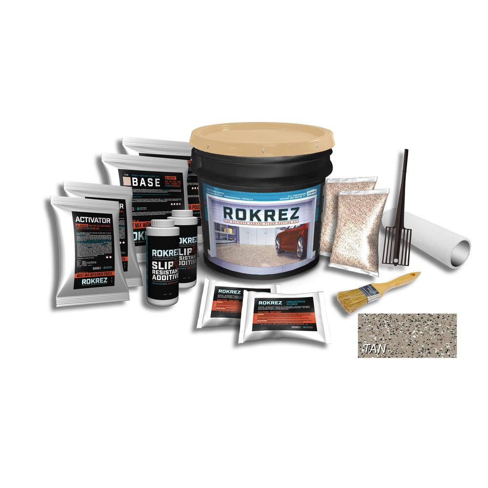 SIMIRON ROKREZ 230 oz. Tan Gloss 2.5 Car Garage Industrial Epoxy Floor Kit 2 Component 100% Solids All-In-One DIY Kit