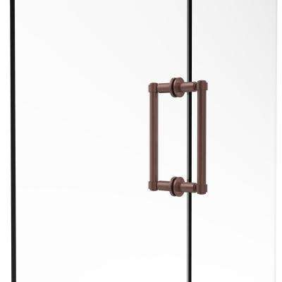 Contemporary 8 in. Back-to-Back Shower Door Pull in Antique Copper
