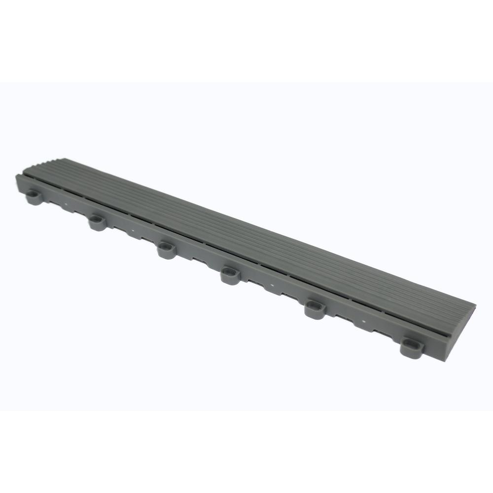 Swisstrax 15.75 in. Slate Grey Looped Edging for 15.75 in. Swisstrax Modular Tile Flooring (2-Pack)