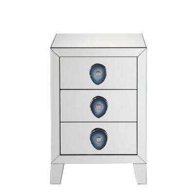 Filip Mirrored and Faux Agate Nightstand