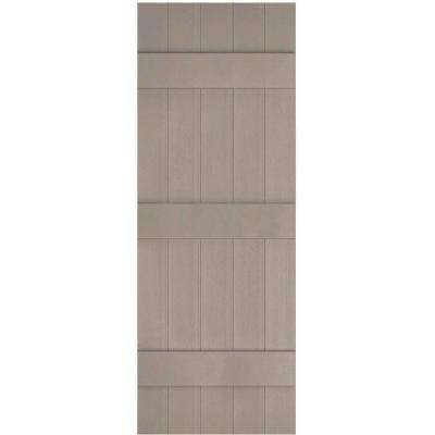 17-1/2 in. x 56 in. Lifetime Vinyl Custom Five Board Joined Board and Batten Shutters Pair Clay