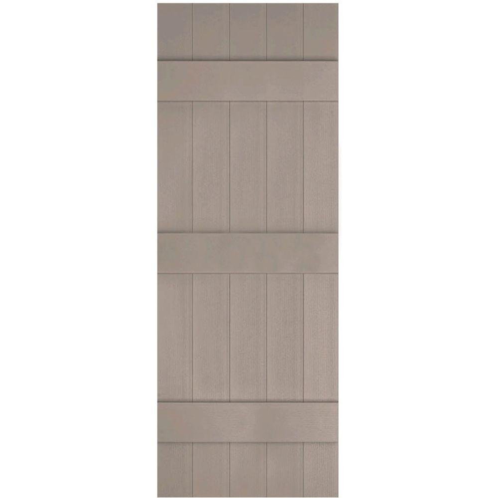 Ekena Millwork 17-1/2 in. x 63 in. Lifetime Vinyl Custom Five Board Joined Board and Batten Shutters Pair Clay