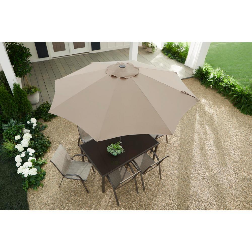 9 ft. Riverbed Steel Espresso Brown Market Crank and Tilt Outdoor Patio Umbrella in Riverbed Taupe