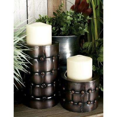 Bronze Iron Rivet-Detailed Cylindrical Candle Holder (Set of 3)