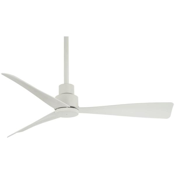 Simple 44 in. Indoor/Outdoor Flat White Ceiling Fan with Remote Control
