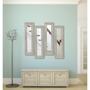 15.5 inch x 39.5 inch White Washed Antique Vanity Mirror (Set of 4-Panels) by