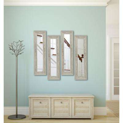 11.5 in. x 29.5 in. White Washed Antique Vanity Mirror (Set of 4-Panels)
