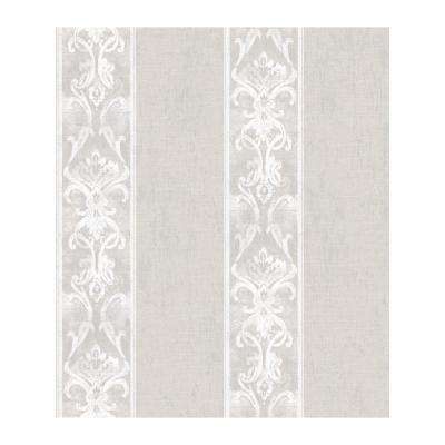 Elsa Taupe Alternating Damask Stripe Paper Strippable Roll Wallpaper (Covers 56.4 sq. ft.)