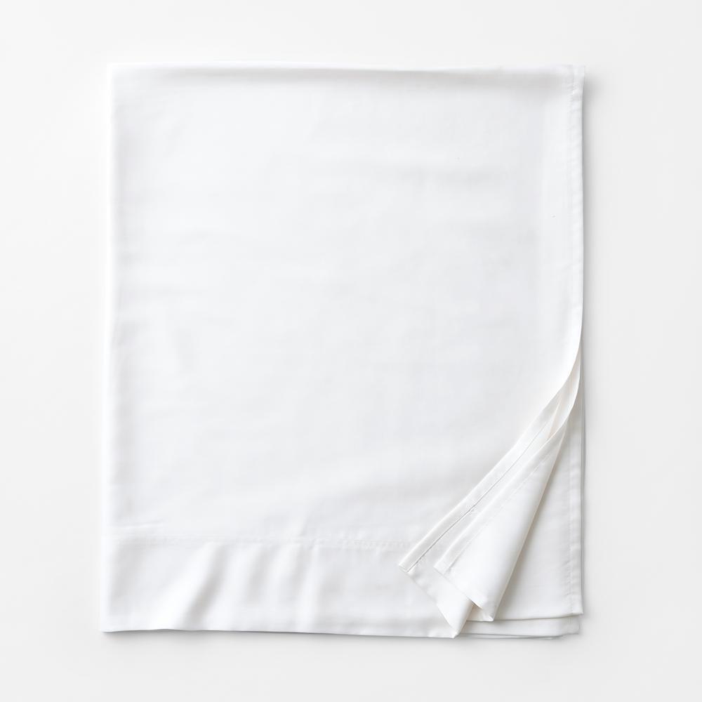 Legends Hotel White 300-Thread Count TENCEL Lyocell Sateen Queen Flat Sheet