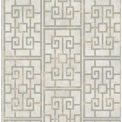 Dynasty Metallic Pearl and Gray Lattice Wallpaper