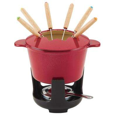 Cast Iron Red Shimme Fondue Pot Set, 1.5-Quart