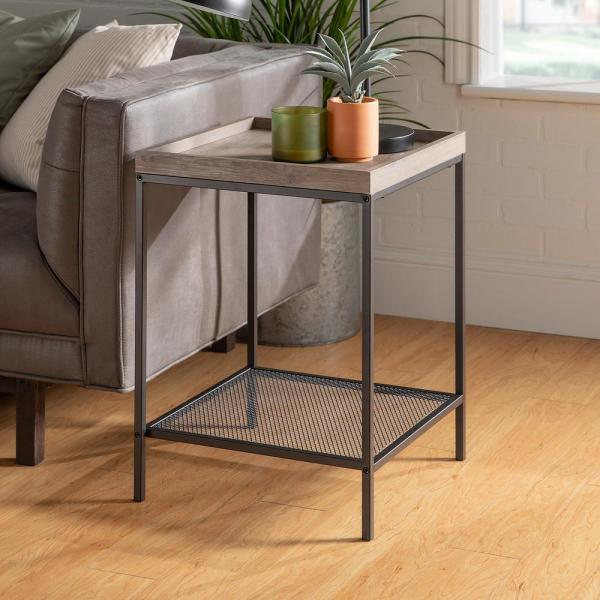 18 in. Grey Wash Square Wood Side Table with Lower Mesh Shelf