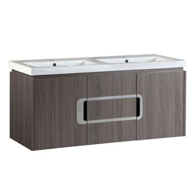 Torrey 48 in. W x 19 in. D x 22 in. H Double Vanity in Gray Brown Oak with Ceramic Vanity Top in White with White Basins