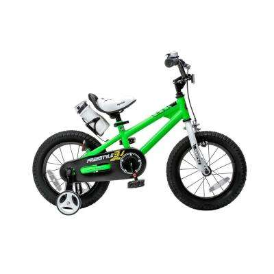 14 in. Wheels Freestyle BMX Kid's Bike, Boy's Bikes and Girl's Bikes with Training Wheels in Green