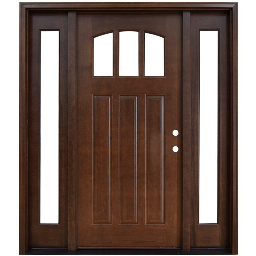Steves sons 68 in x 80 in craftsman 3 lite arch stained mahogany wood prehung front door for Prehung hickory interior doors
