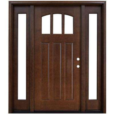 Doors with glass wood doors the home depot craftsman 3 lite arch stained mahogany wood prehung front door with sidelites planetlyrics Images