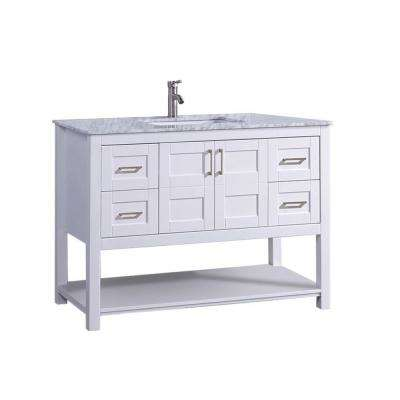 Nord 48 in. W x 22 in. D x 36 in. H Bath Vanity in White with Marble Vanity Top in White/Grey with White Basin